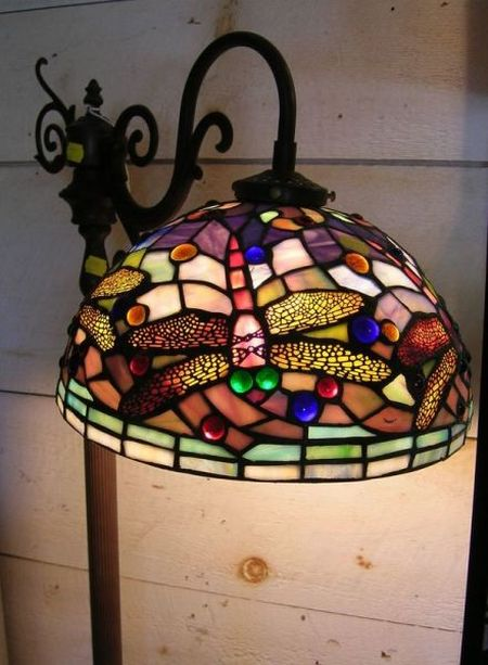 "Pair of Modern ""Tiffany-style"" Leaded Glass Jeweled Dragonfly Bridge Lamps and a Leaded Glass Table Lamp"