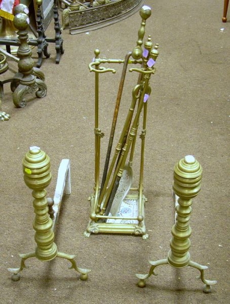 Pair of Brass Ring-turned Andirons and a Victorian Brass Stand with a Set of Three Tools, and a Pair of Brass T...