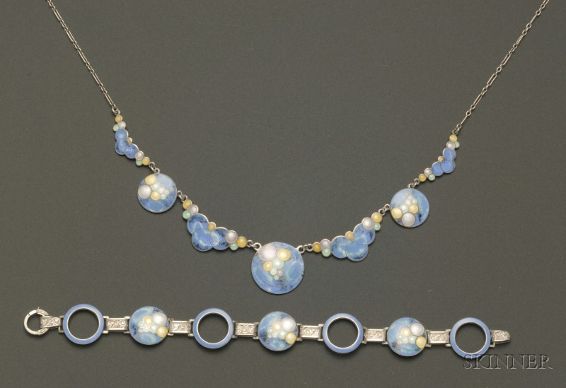 Art Nouveau Enamel and Sterling Silver Necklace and Bracelet Suite