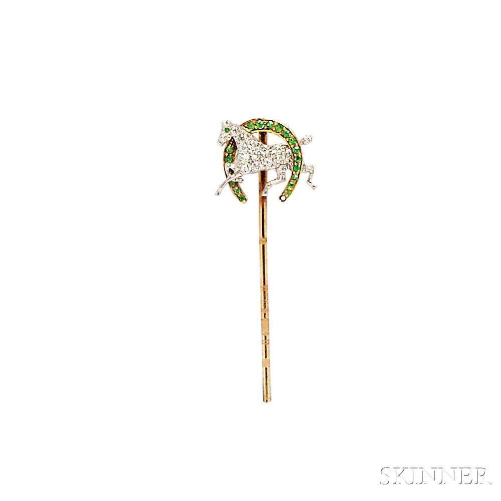 Edwardian Demantoid Garnet and Diamond Stickpin