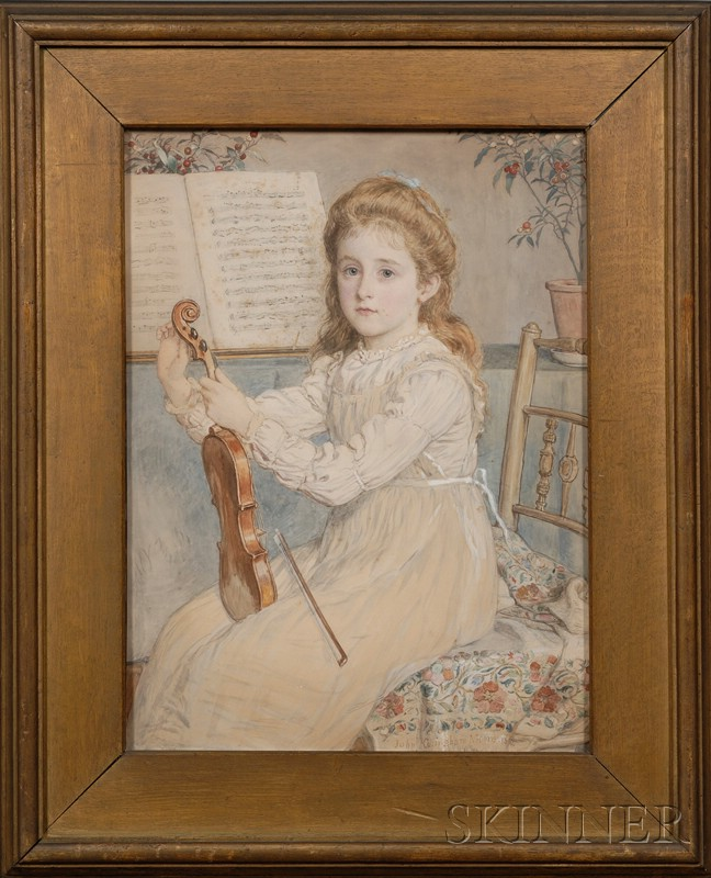 John Collingham Moore (British, 1829-1880)      The Young Violinist
