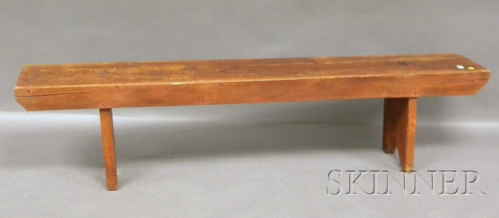 Red-painted Wood Bucket Bench