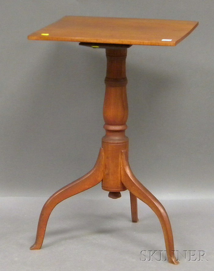 Country Red-painted Maple Candlestand.