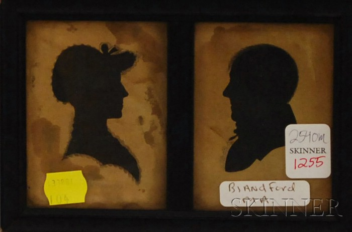 Framed Miniature Double Hollow-cut Silhouettes of David Boies and Polly Watson