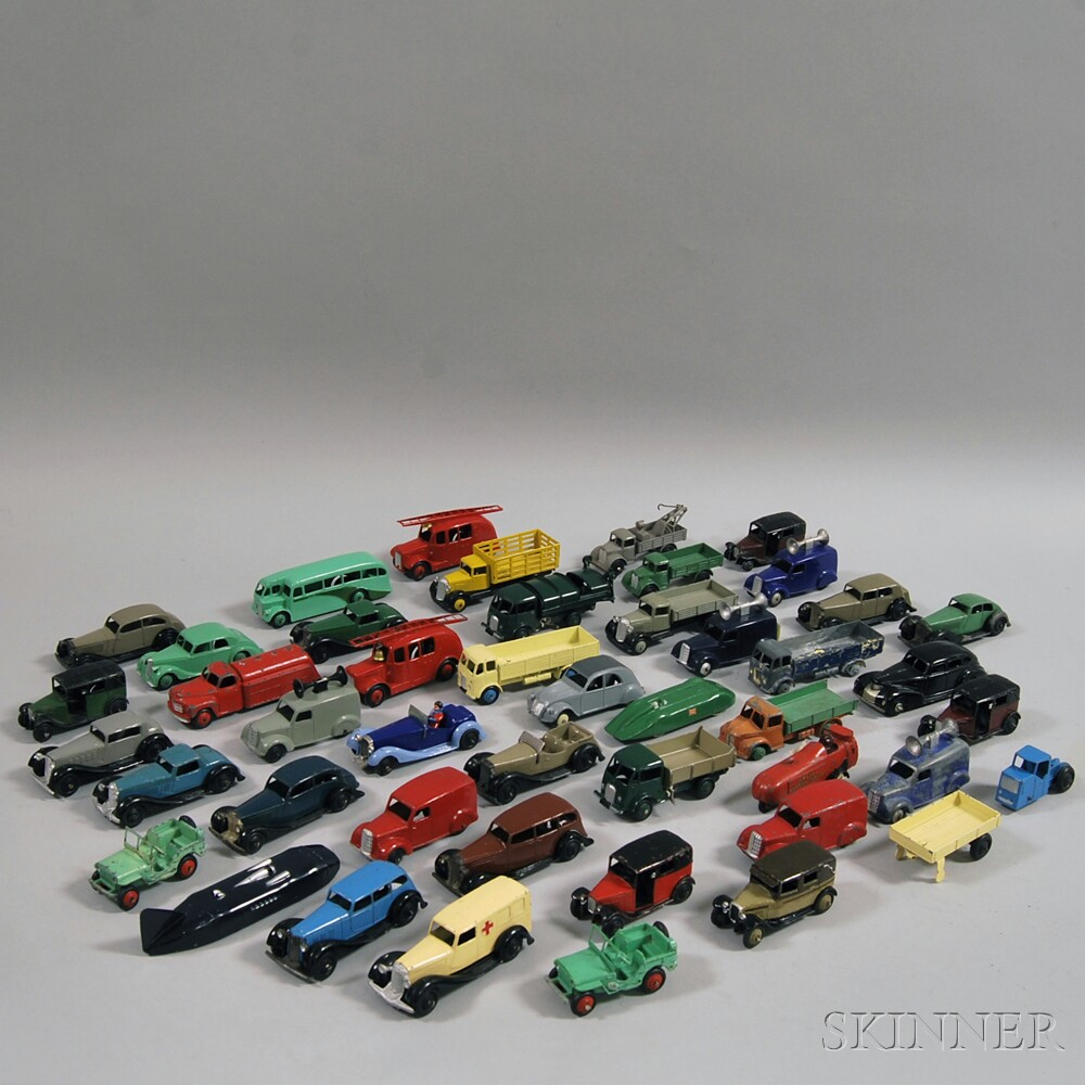Forty-five Meccano Dinky Toys Die-cast Metal Automobiles, Trucks, Vans and   Other Vehicles,