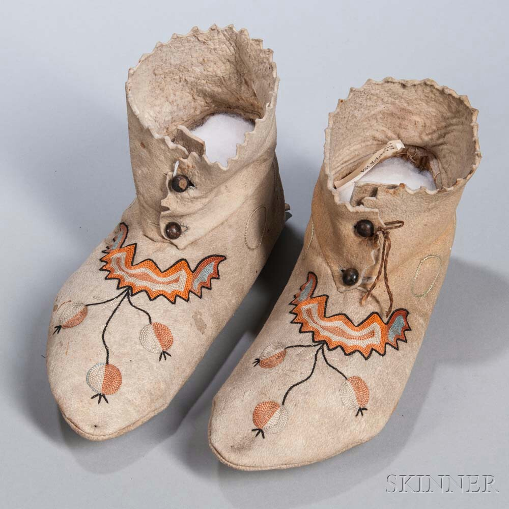 Pair of Chippewa Embroidered Hide Moccasins