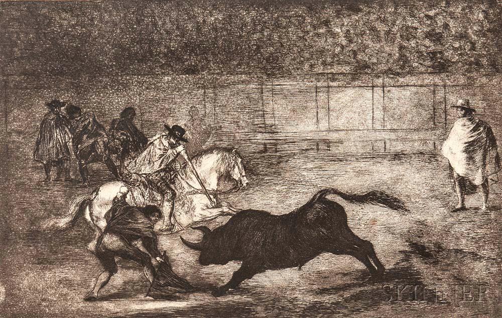 Francisco de Goya (Spanish, 1746-1828)      Un Caballero en Plaza Quebrando un Rejoncillo con Ayuda de un Chulo