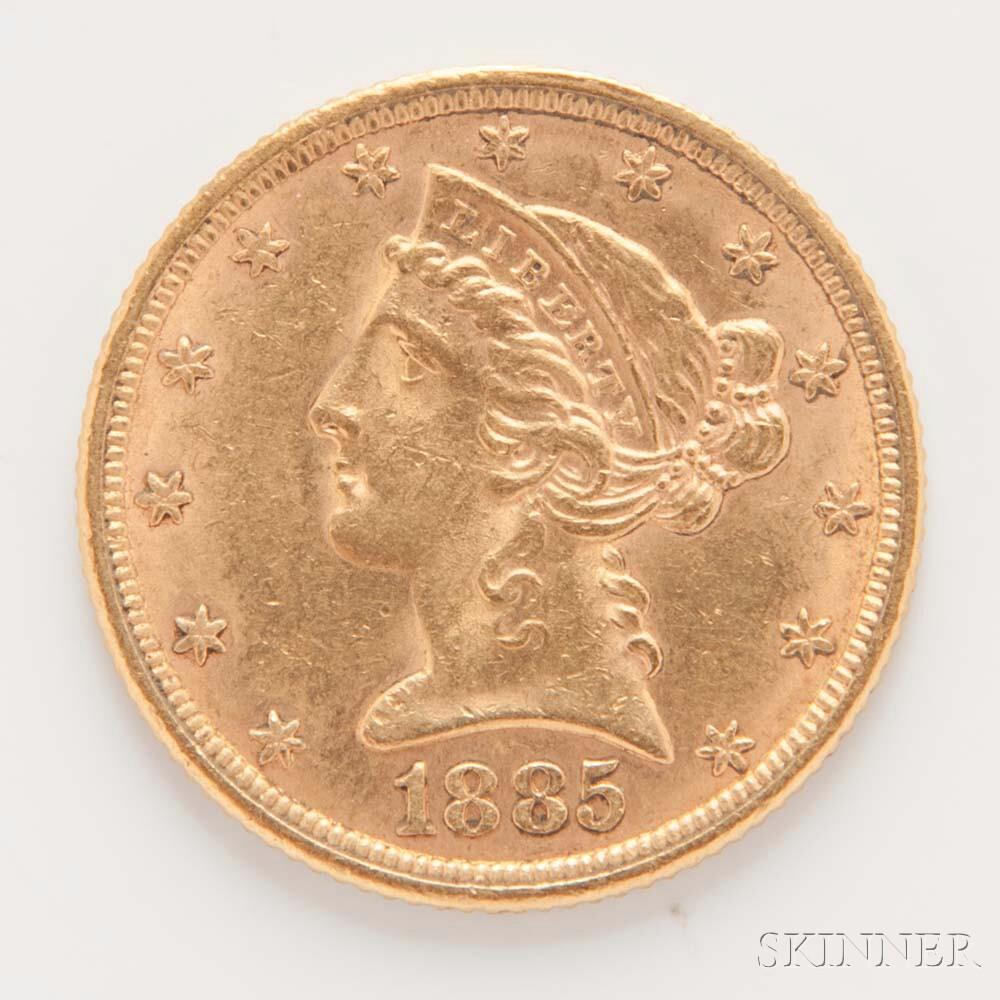 1885 $5 Liberty Head Gold Coin.     Estimate $300-400