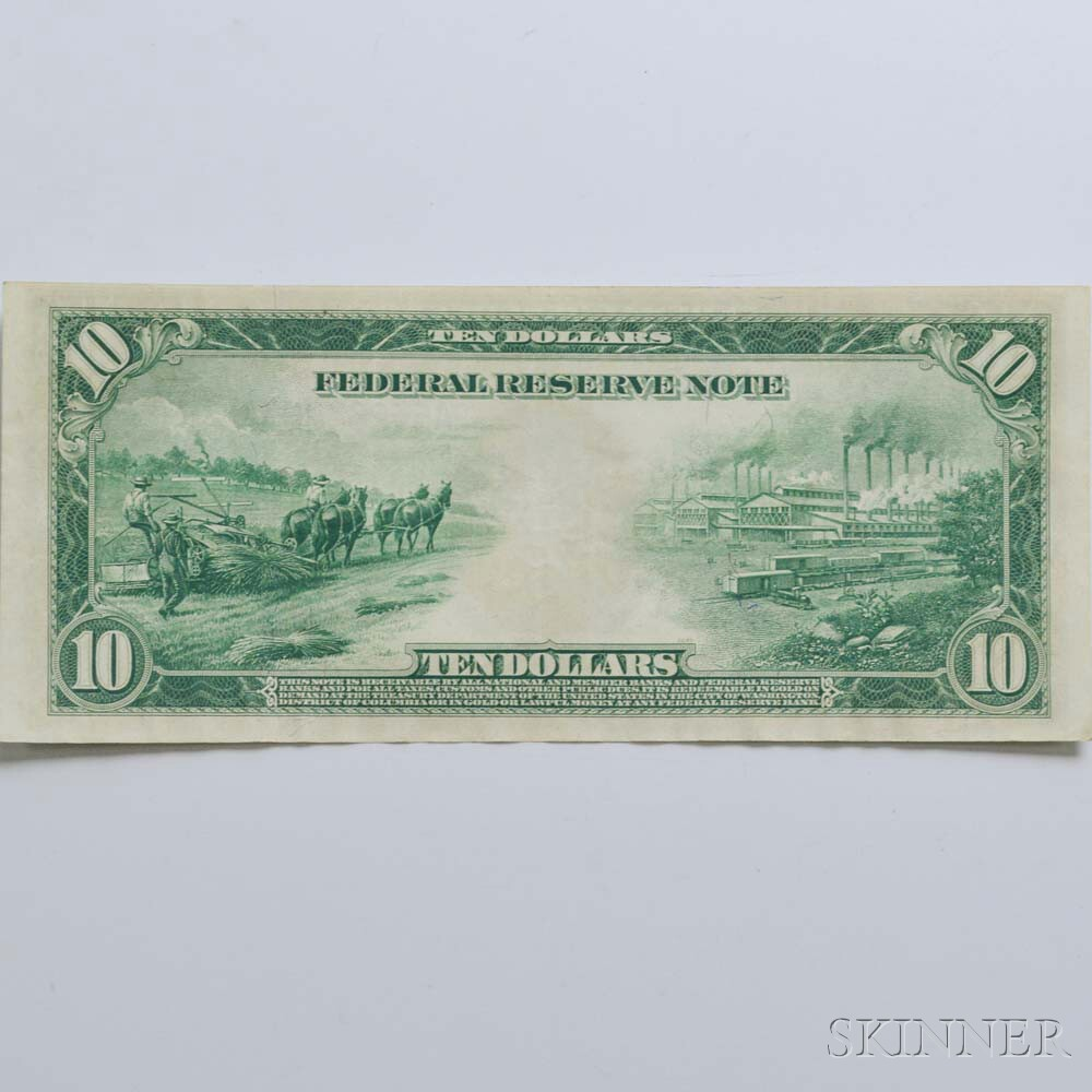 1914 $10 Federal Reserve Note.     Estimate $50-100