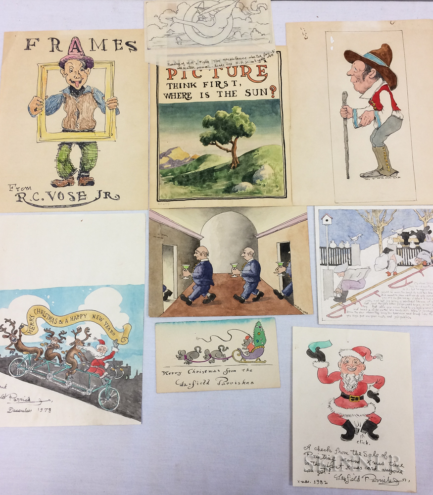 Maxfield Parrish Jr. (American, 1906-1983) and Family Folder of Nineteen Works on Paper: Illustrations and Designs for Invitations, Chr
