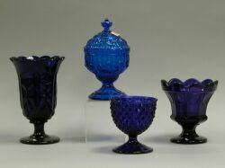 Four Blue Pressed Pattern Glass Pieces.