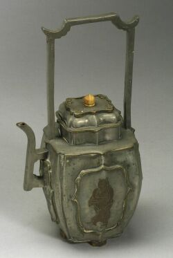 Chinese Pewter Wine Pot, Pottery Lamp Stand, Jar and Eleven Pieces of Assorted Asian Ceramics.