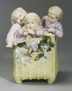 Parian-Bisque Vase with Three Children Climbing Out