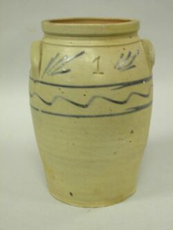 Cobalt Decorated Stoneware Crock.