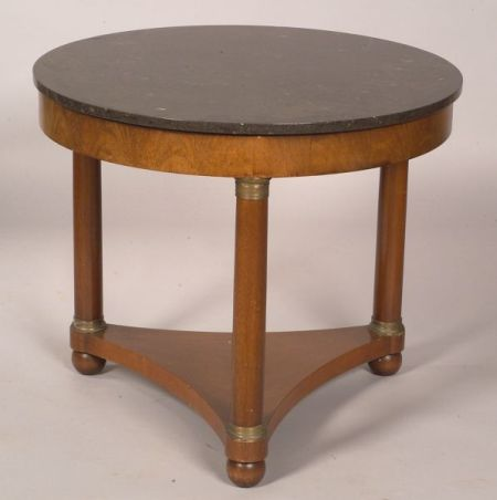 Empire Revival Mahogany, Gilt-Bronze Mounted, and Marble-top Center Table