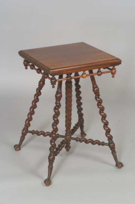 Merklen Brothers Attributed Victorian Cherry Twist-turned Splayed-leg Occasional Table with Cast Metal Talon an...