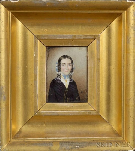 Attributed to Mrs. Moses B. Russell (Clarissa Peters), (Massachusetts, 1809-1854)    Portrait Miniature of Rhoda Dame Hall.