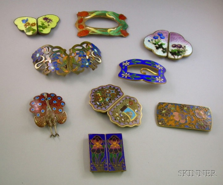 Seven Art Nouveau and Later Cloisonne Buckles and Two Cloisonne Brooches.