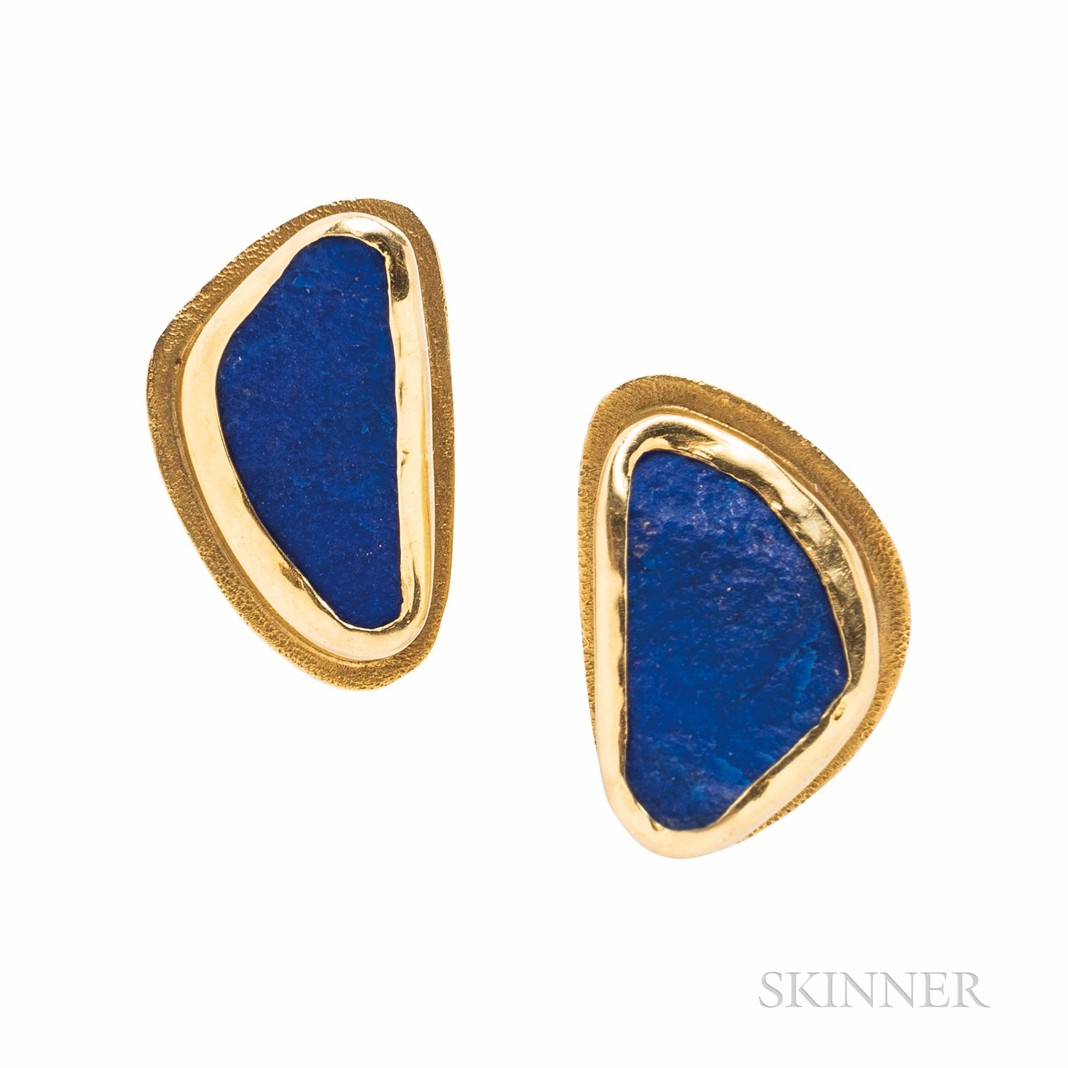 18kt Gold and Lapis Rough Earrings