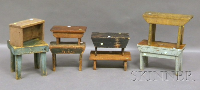 Eight Assorted Wood Crickets and Footstools