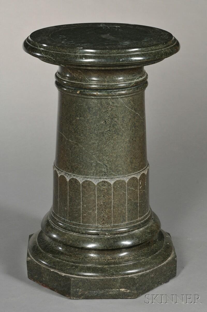 Verde Antique Marble Pedestal with Revolving Top