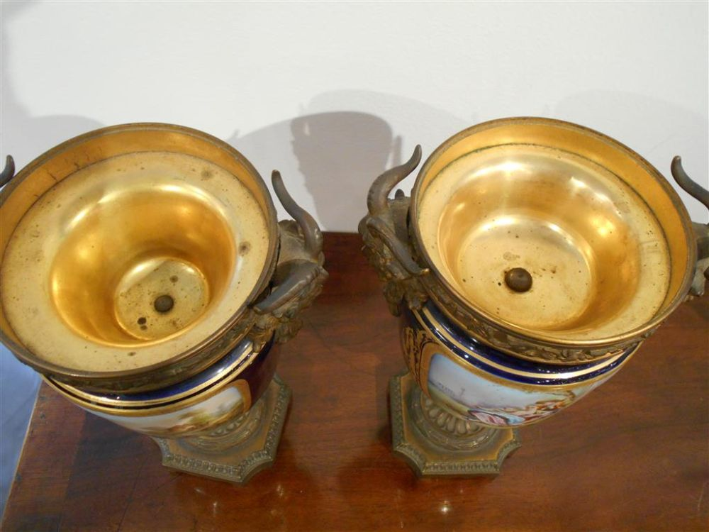 Pair of Sèvres-style Gilt-bronze Mounted Candle Urns