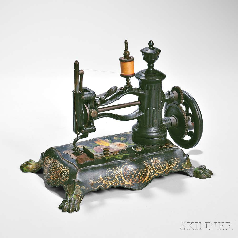 Late 19th Century Paint-decorated Cast Iron Sewing Machine