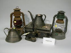 Twenty-two Pieces of Industrial and Business Tinware