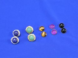 Two Pair of Earrings with Three Sets of Interchangeable Mounts.