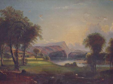 Framed Oil Hudson River View.