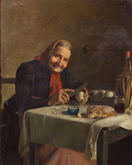 R. Agresti (Italian, 19th Century)    A Simple Repast
