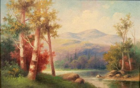 Lot of Two American Landscapes Including: George McConnell (American, 1852-1929), Mountain Lake; American School, 19th/20th Century, Op