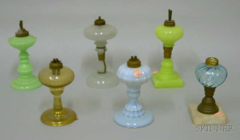 Six Colored Pressed Glass Fluid Table Lamps