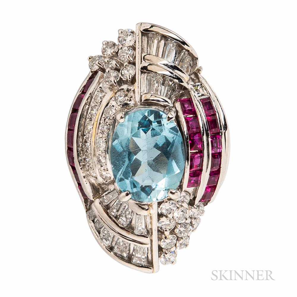 Platinum, Aquamarine, Ruby, and Diamond Ring