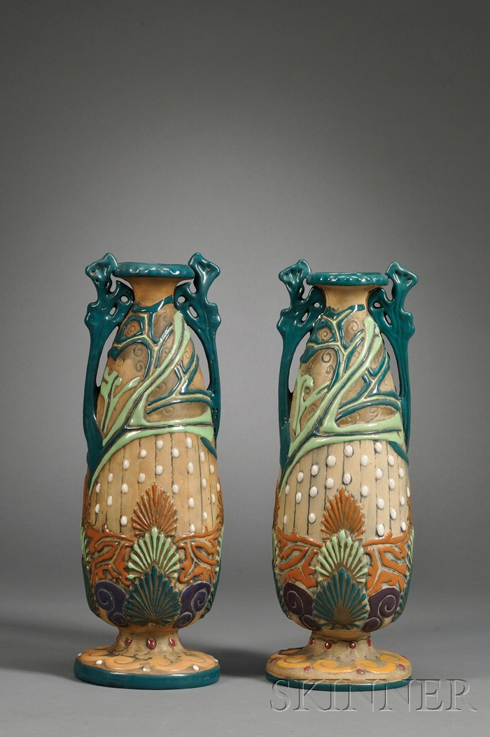 Pair of Amphora Art Pottery Vases