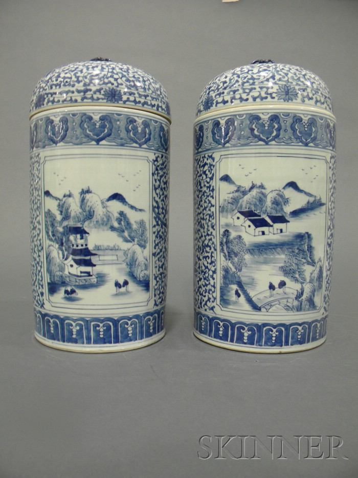 Pair of Blue and White Covered Jars
