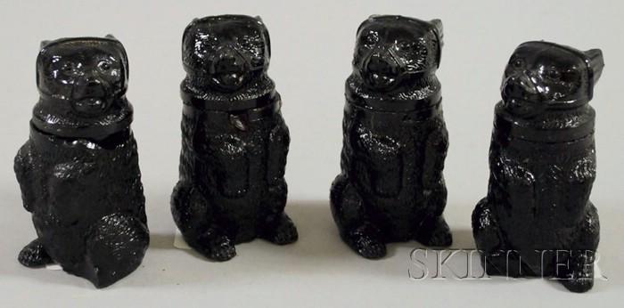 Four Sandwich Glass Molded Bear Figural Pomade Jars
