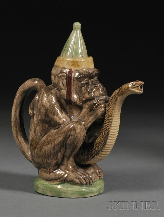 Monkey-form Majolica Teapot