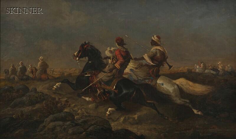 School of Adolph Schreyer (German, 1828-1899)      Scene with Arab Horsemen
