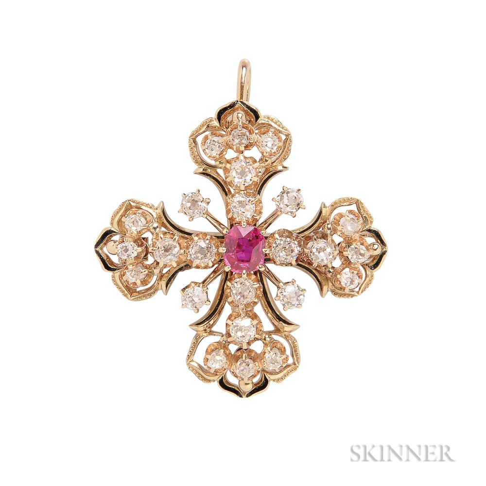 Victorian Revival 14kt Gold, Ruby, and Diamond Maltese Cross Pendant/Brooch