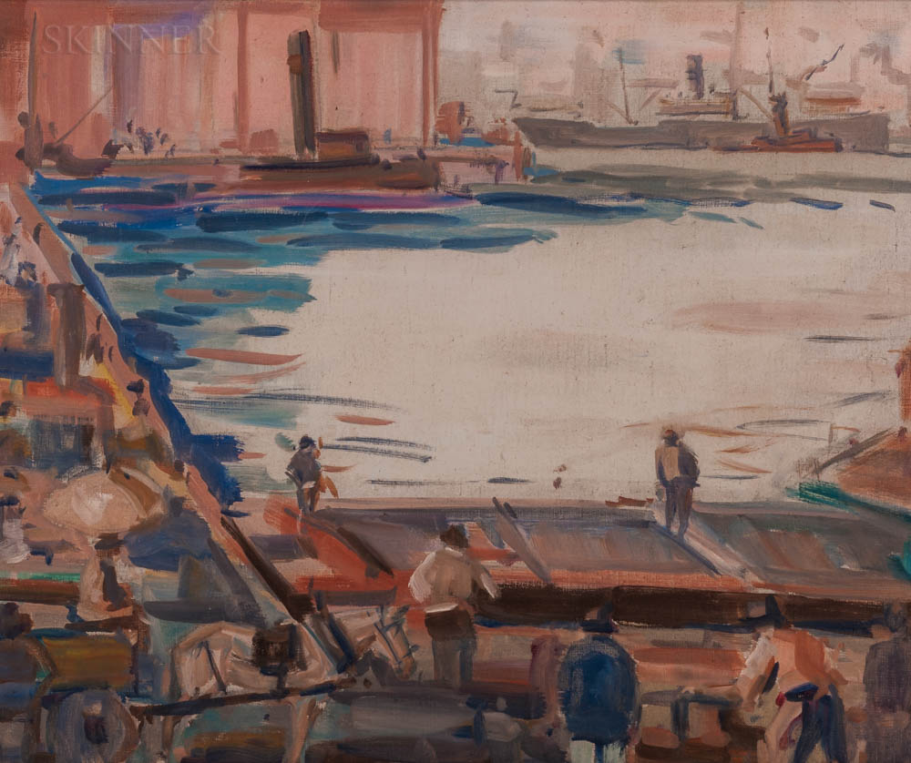 American School, 20th Century      Oil Sketch of an Urban Wharf.