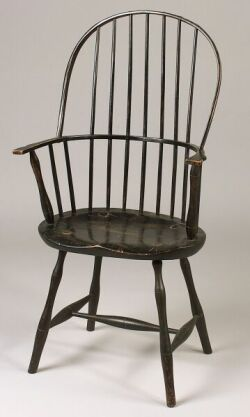 Black Painted Windsor Bow-back Armchair.