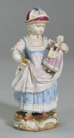 Meissen Figurine of a Girl Holding a Doll