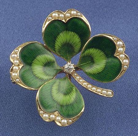 Antique 14kt Gold and Enamel Four-Leaf Clover Pendant/Brooch, Krementz & Co.