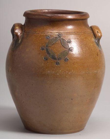 Incised Cobalt Blue Decorated Stoneware Jar