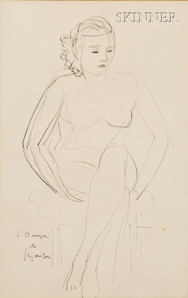 André Dunoyer de Segonzac  (French, 1884-1974)      The Seated Model