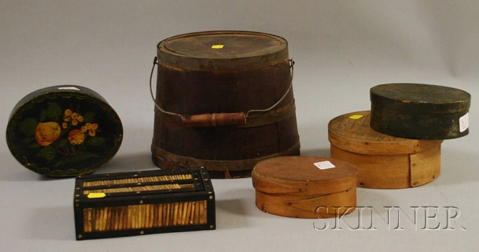 Four Small Wood Lap-sided Boxes, a Wooden Pail, and a Quill and Ebony Slide-lid Box