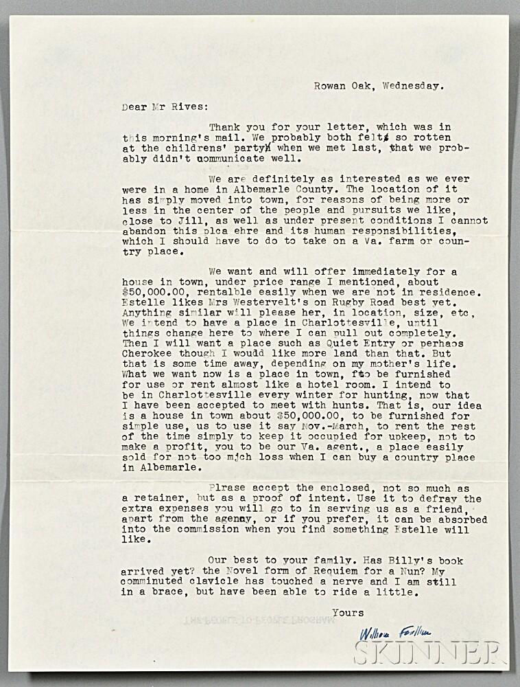 Faulkner, William (1897-1962) Typed Letter Signed, 23 April 1957.