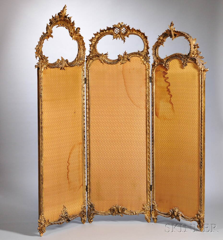 Louis XV-style Giltwood Three-panel Screen