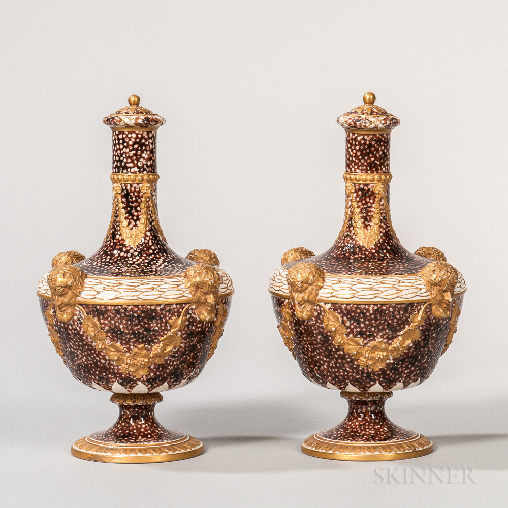 Pair of Wedgwood Peacock Glazed Barber Bottles and Covers